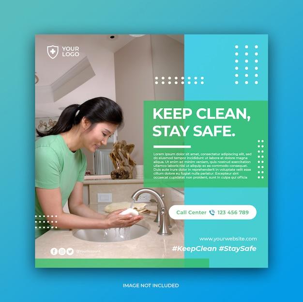 Healthcare prevention banner or square flyer for social media post template