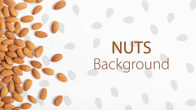 Healthy almonds mock-up background