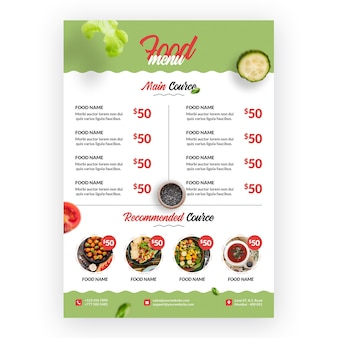 Healthy and bio food menu