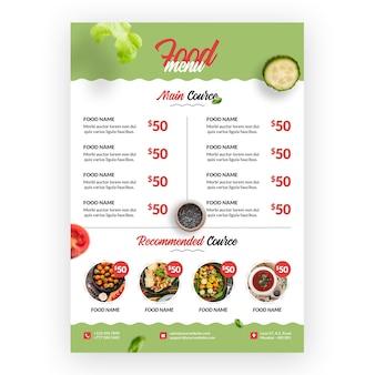 Menu di alimenti sani e biologici