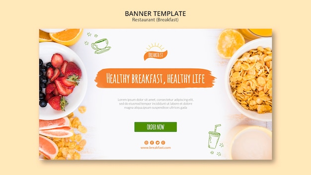Healthy breakfast, healthy life banner template