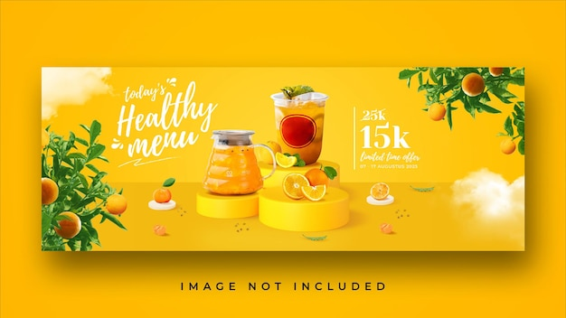 Healthy drink menu promotion facebook cover banner template