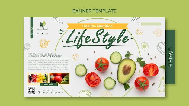 Modello di banner per uno stile di vita alimentare sano