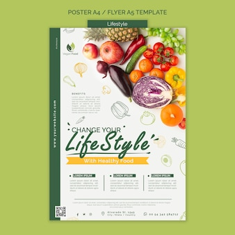 Healthy eating lifestyle poster template