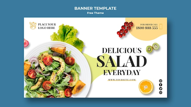 Healthy food banner template design