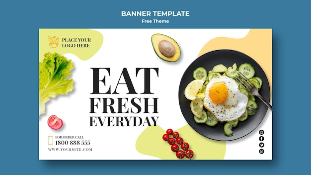 Healthy food banner template style