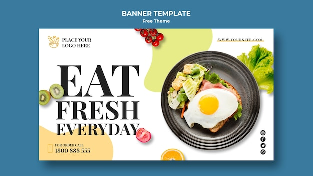 Healthy food banner template theme Free Psd