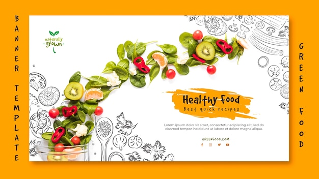Healthy food banner template