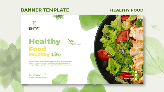 Healthy food concept banner template