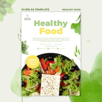 Healthy food concept flyer template