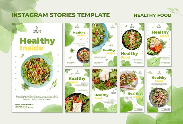 Healthy food concept instagram stories template