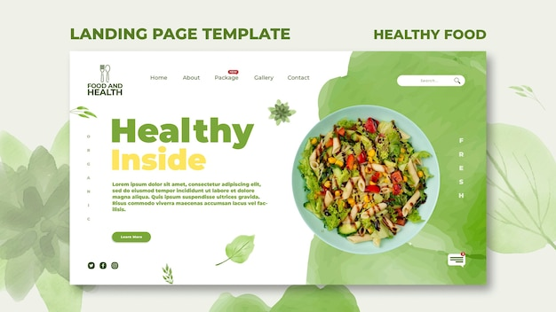 Healthy food concept landing page template