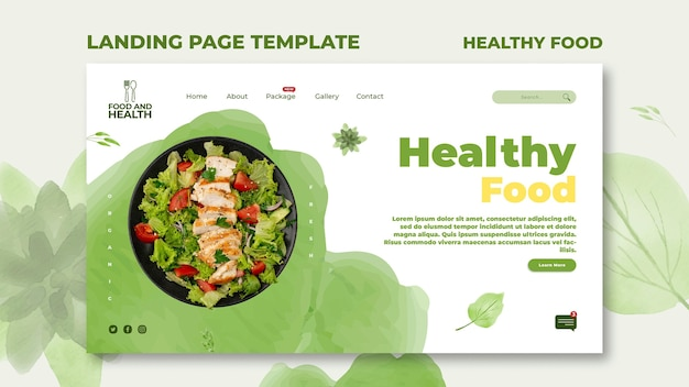 건강 식품 개념 방문 페이지 템플릿