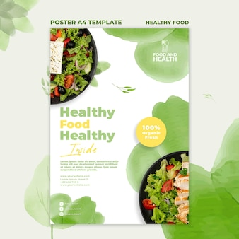 Healthy food concept poster template