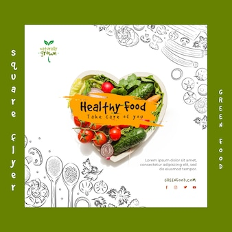 Healthy food flyer template with photo