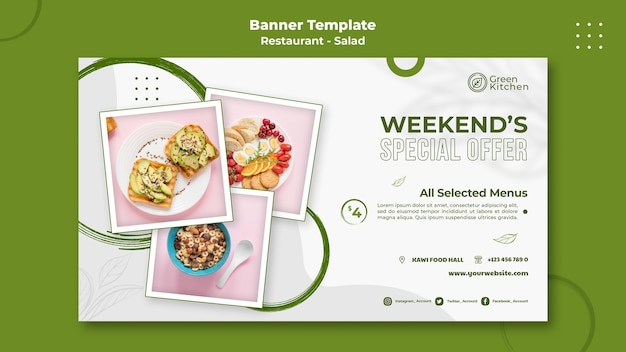 Healthy food horizontal banner template