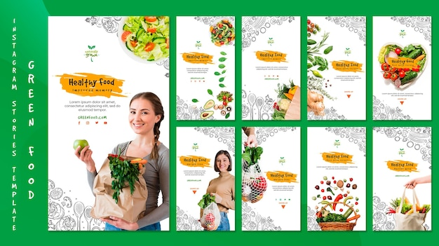 Healthy food instagram stories template with picture
