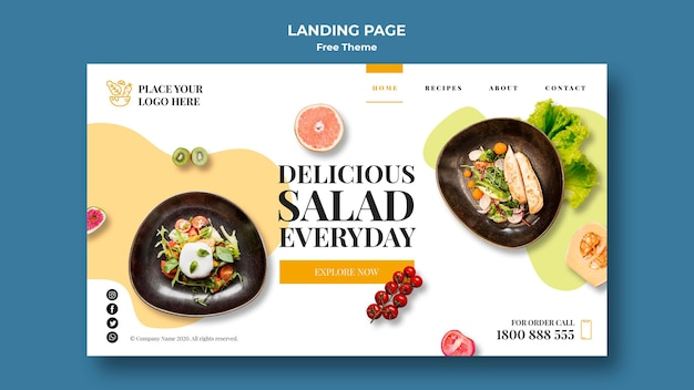 Healthy food landing page design Free Psd