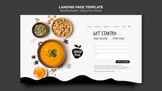 Healthy food landing page template