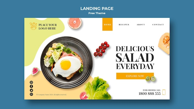 Healthy food landing page theme