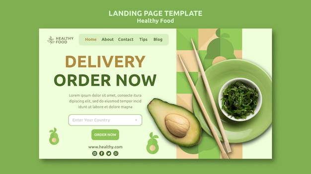 Healthy food landing page