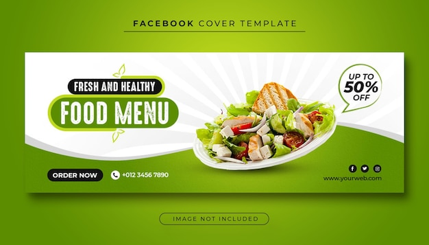 Меню здорового питания и обложка ресторана на facebook