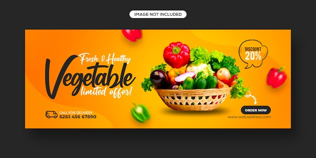 Healthy food menu promotion and social media facebook cover banner template
