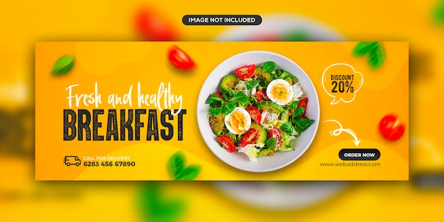 Healthy food menu promotion social media facebook cover banner template