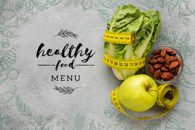 Healthy food menu text with veggies