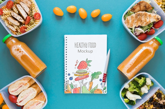 Healthy food mock-up flat lay