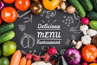 Healthy food mockup with copyspace
