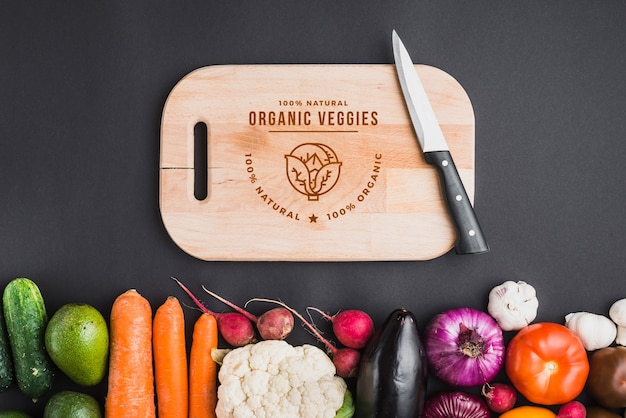Healthy food mockup with wooden board