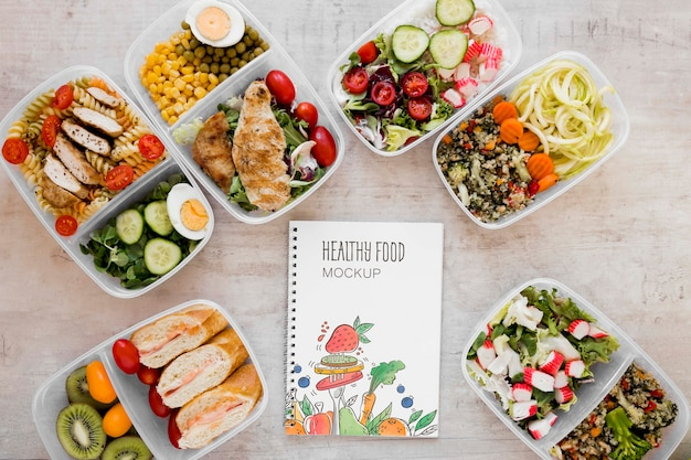 Healthy food and notebook mock-up