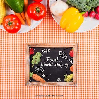 Healthy food on plates mockup with slate