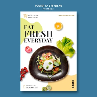 Healthy food poster design Free Psd