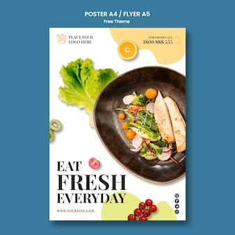 Healthy food poster style Free Psd
