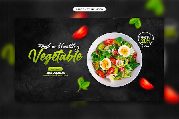 Посты в социальных сетях по продвижению здорового питания и дизайн шаблона веб-баннера