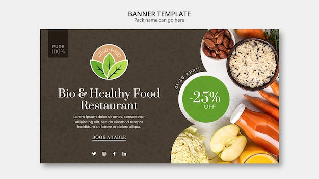 Healthy food restaurant banner template