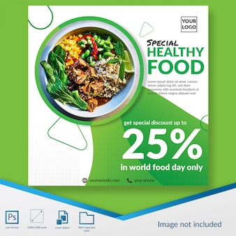 Healthy food restaurant discount offer social media post template