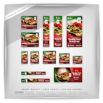 Healthy food restaurant google banner set