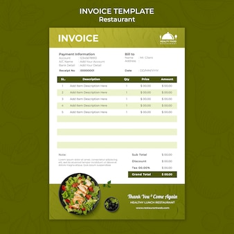 Healthy food restaurant invoice template