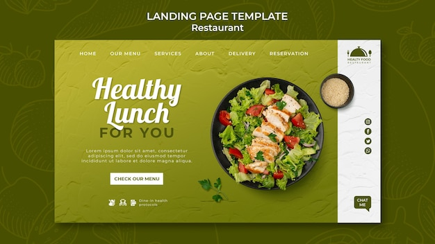 Healthy food restaurant landing page template