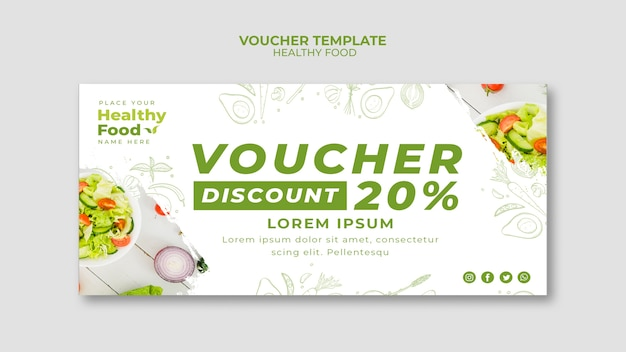 Healthy food restaurant voucher template