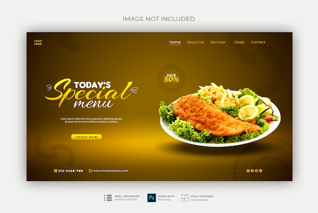 Healthy food or restaurant web banner template