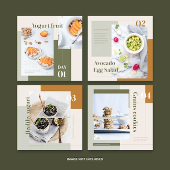 Healthy food restaurants banner social media post template collection