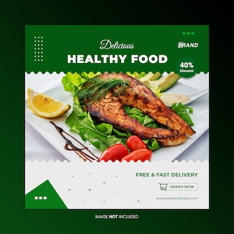 Healthy food social media banner template