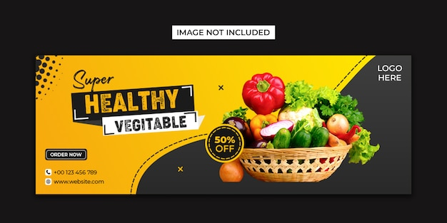 Healthy food social media and facebook cover template