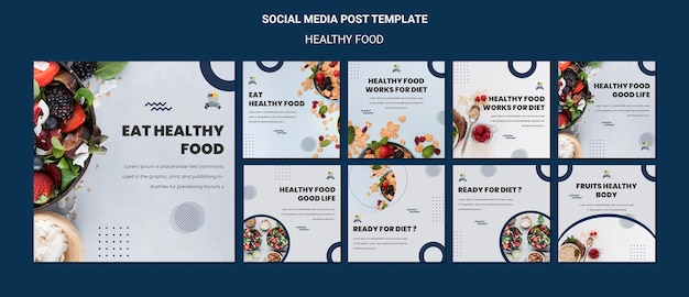 Healthy food social media post template