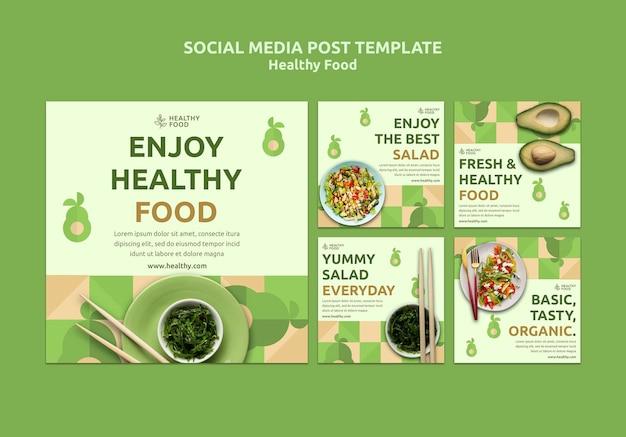 Post sui social media di cibo sano