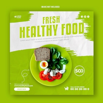 Healthy food social media promotional discount post template